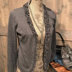 Loft gray cardigan with ruffled edge
